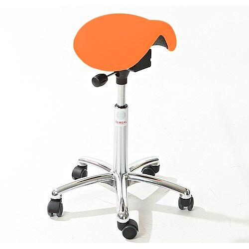 Mini Easymek Seat Saddle Stool With Orange Leather Look Seat Upholstery H570 - 760mm