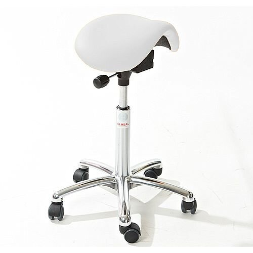 Mini Easymek Seat Saddle Stool With White Leather Look Seat Upholstery H570 - 760mm