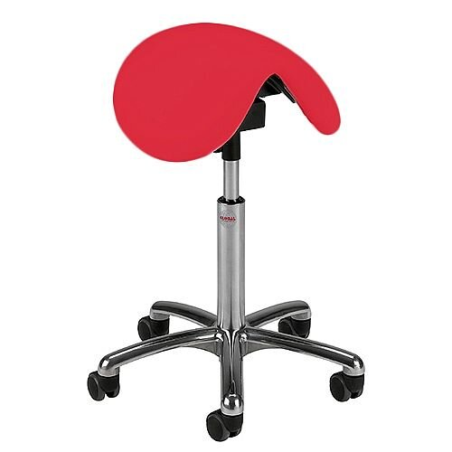 Pinto Easymek Seat Saddle Stool With Easy Clean Red 3D Runner Seat Upholstery H570 -760mm