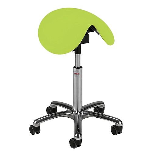 Pinto Easymek Seat Saddle Stool With Green Leather Look Seat Upholstery H570 -760mm