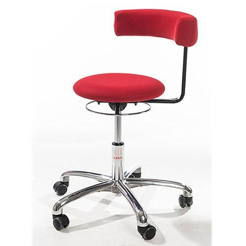 Saturn Ergonomic Stool With 360° Swivel Back-Arm Rest Red H400 - 530mm