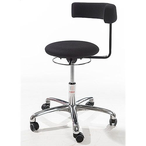 Saturn Ergonomic Stool With 360° Swivel Back-Arm Rest Black H490 - 680mm
