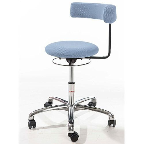Saturn Ergonomic Stool With 360° Swivel Back-Arm Rest Blue H490 - 680mm