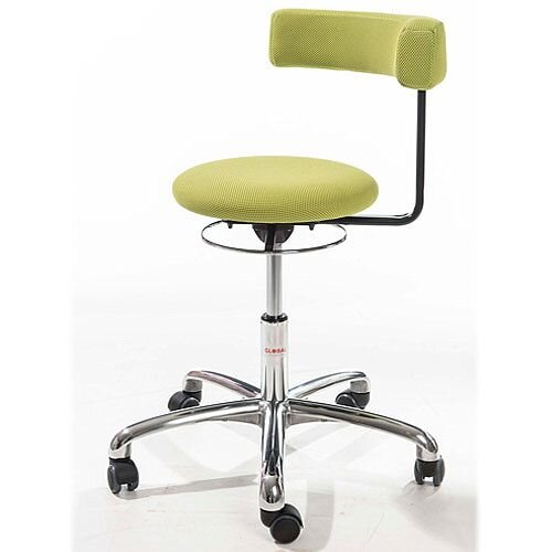 Saturn Ergonomic Stool With 360° Swivel Back-Arm Rest Green H490 - 680mm