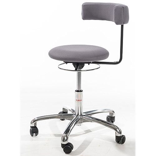 Saturn Ergonomic Stool With 360° Swivel Back-Arm Rest Grey H490 - 680mm