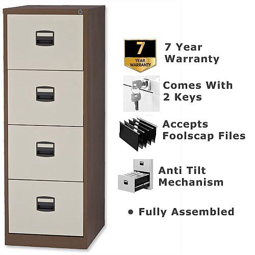 4 Drawer Steel Filing Cabinet Lockable Brown U0026 Cream Trexus By Bisley