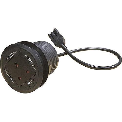 Desk Black Cable Porthole 1 x Power &3x USB GROM80-B