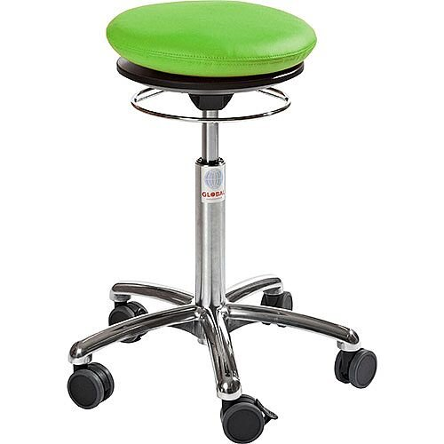 Pilates Air-Seat Ergonomic Stool With Green Leather Look Seat Upholstery H450 - 640mm