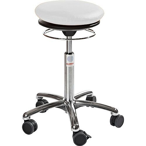 Pilates Air-Seat Ergonomic Stool With White Leather Look Seat Upholstery H450 - 640mm