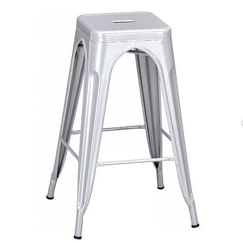 Paris High Outdoor Stool Powder Coated Steel Grey