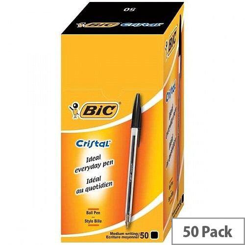 Bic Cristal Ballpoint Pens Black Clear Barrel Pack 50