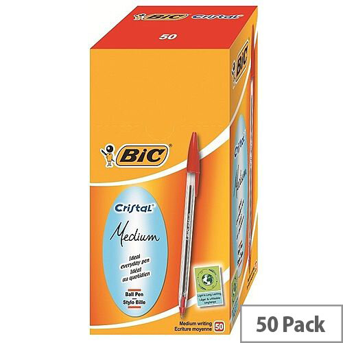 Bic Cristal Ballpoint Pens Red Clear Barrel Pack 50