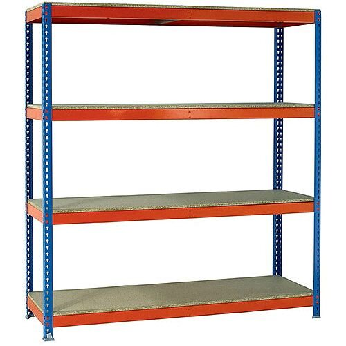 2m High Heavy Duty Boltless Chipboard Shelving Unit W2100xD600mm 500kg Shelf Capacity With 4 Shelves - 5 Year Warranty