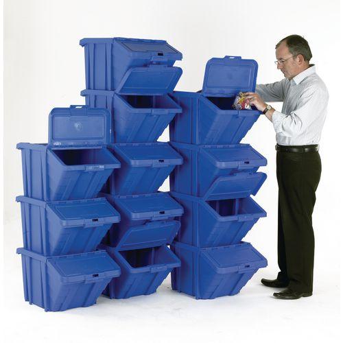 Heavy Duty Storage Bin with Lid Blue Pack of 12 374350