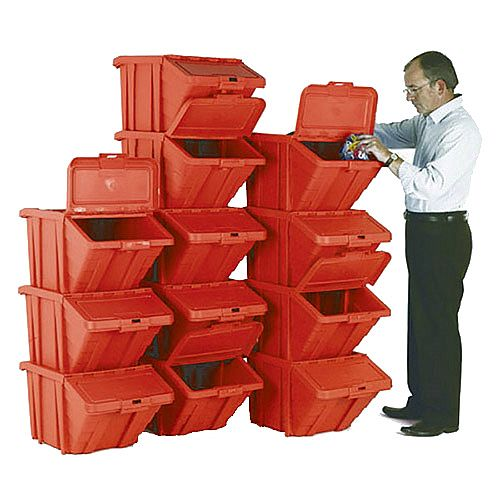 Heavy Duty Storage Bin with Lid Red Pack of 12 374351