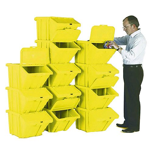 Heavy Duty Storage Bin with Lid Yellow Pack of 12 374353