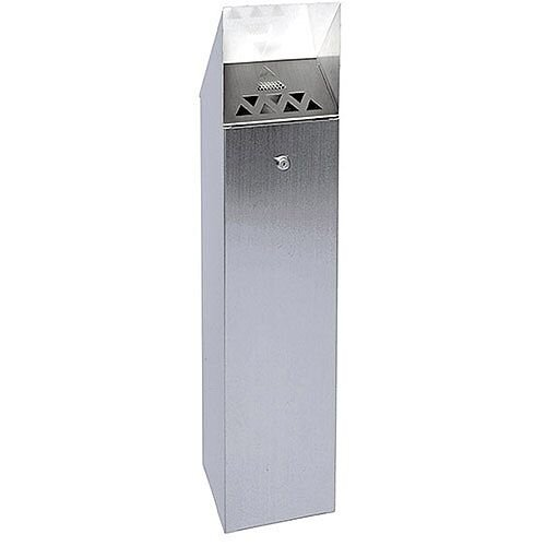 Silver Hooded Top Cigarette Ash Tower Bin 6.6 Litre Pack of 1 317468