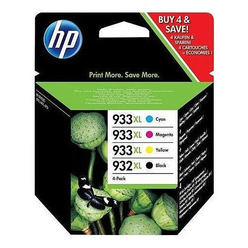 HP Original 932XL/933XL Combo High Yield Ink Cartridges (Pack 4) – Black, Cyan, Magenta and Yellow, Black 1,00 Page Yield, Cyan/Magenta/Yellow 825 Page Yield Each, Eco-Friendly &Works With Officejet Printers (HPc2P42AE)