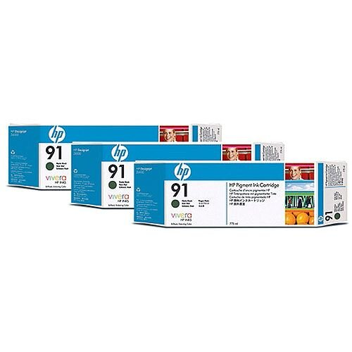 HP No 91 Inkjet Cartridge Matte Black Pack of 3 C9480A