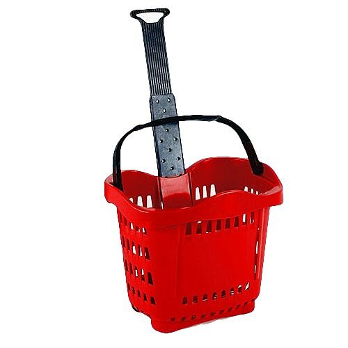 Large Shopping Basket Trolley Red