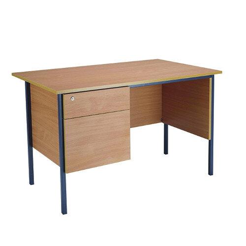 Jemini Intro W1200mm 4 Leg Office Desk With 2 Drawer Fixed Pedestal Bavarian Beech KF838371