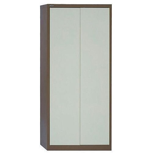 Jemini 2-Door Stationery Cupboard 914x400x1950mm 4 Shelves Coffee/Cream