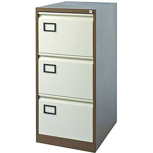 3-Drawer Filing Cabinet Coffee &Cream Jemini By Bisley - Foolscap Suspension Filing - Lockable - 5 Year Warranty