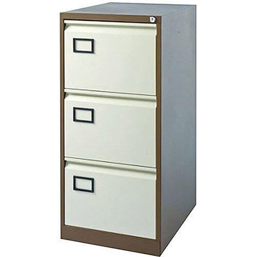 3-Drawer Filing Cabinet Coffee &Cream Jemini By Bisley - Foolscap Suspension Filing - Lockable - 5 Year Warranty