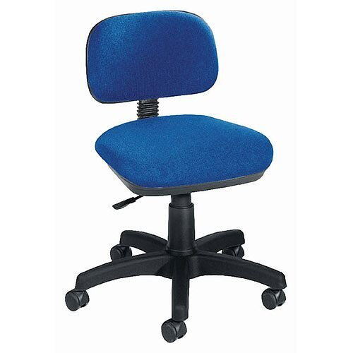 Jemini Gas-Lift Typists Office Chair Blue, Suitable for 5 hours/Day and 5 Days a Week, Weight up to 16 stone or 101kg, Seat height from 480mm to 570mm, Blue Fabric Office Chair
