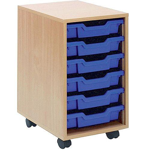 Jemini Mobile Storage Unit 6 Blue Trays Beech KF72338