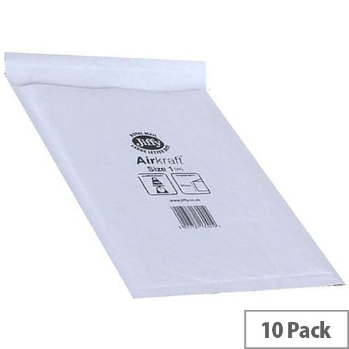 Jiffy Airkraft Size 1 Bubble Lined Bags White 170x245mm Pack of 10