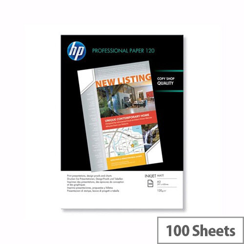 HP White A3 Professional Matte Inkjet Printer Paper 120gsm (Pack of 100) Ref Q6594A