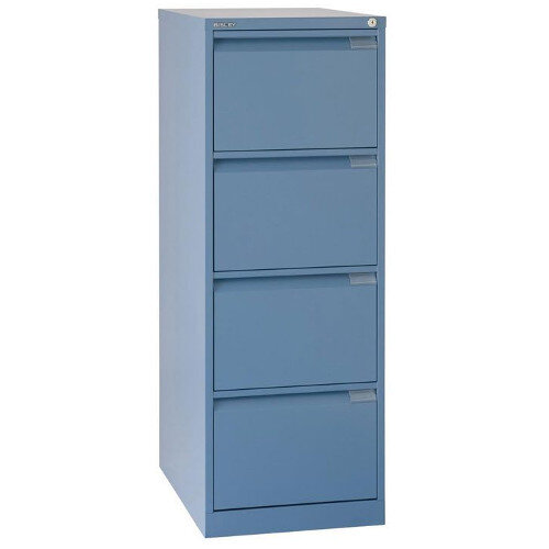 4 Drawer Steel Filing Cabinet Flush Front Blue Bisley BS4E