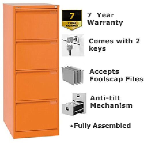 4 Drawer Steel Filing Cabinet Flush Front Orange Bisley BS4E