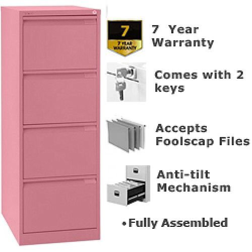 4 Drawer Steel Filing Cabinet Flush Front Pink Bisley BS4E