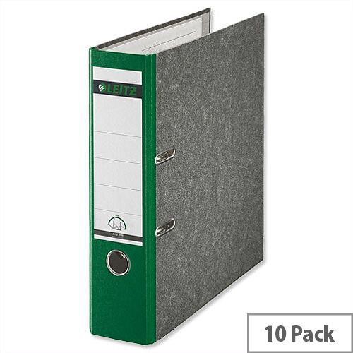 Leitz Standard Lever Arch File 80mm Spine A4 Green Pack of 10