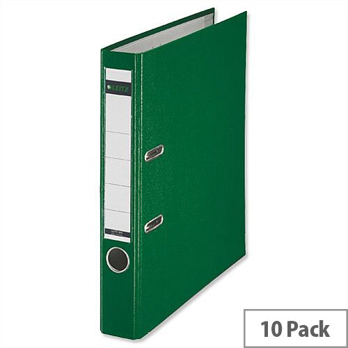 Leitz Green Mini Lever Arch File Plastic A4 Pack 10
