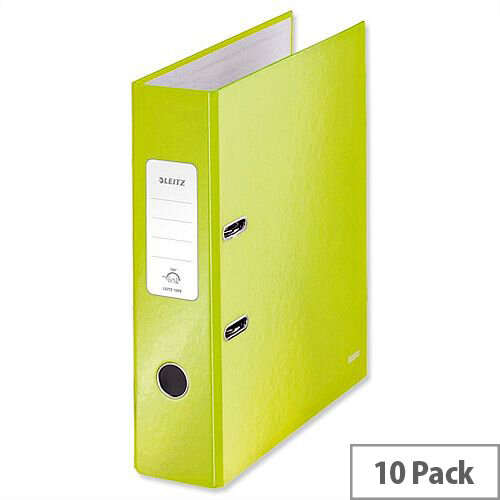 Leitz 180 Wow 80mm Metallic Green A4 Lever Arch File Pack of 10