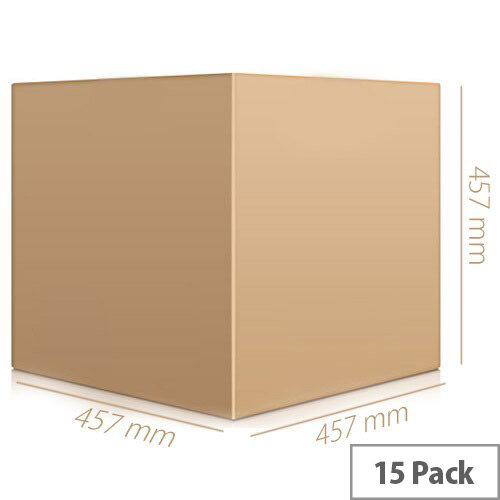 Double Wall Corrugated 457x457x457mm Brown Packing Cardboard Boxes (15 Pack)