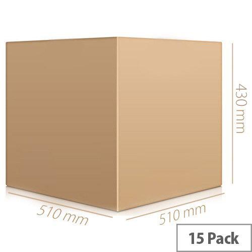 Packing Cardboard Boxes Double Wall Strong Flat 510x510x430mm (Pack 15)