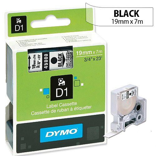Dymo D1 Label Tape 45800 19mm x 7m Black on Clear S0720820