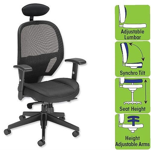 Influx Amaze Mesh Task Operator Office Chair With Headrest