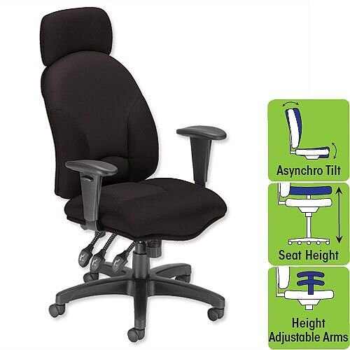 Aviator Office Armchair Black High Back H680 W540 x D450 x H490-590mm Influx Energize, Usage up to 8 hours per day, Weight Capacity up to 114kg, 5 years warranty