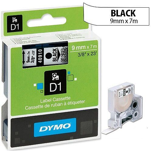 Dymo D1 Tape 40910 9mm x 7m Black on Clear S0720670