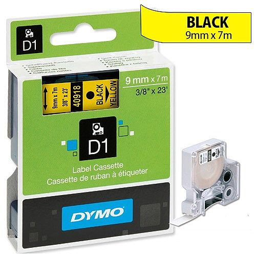 Dymo D1 Tape 40918 9mm x 7m Black on Yellow S0720730