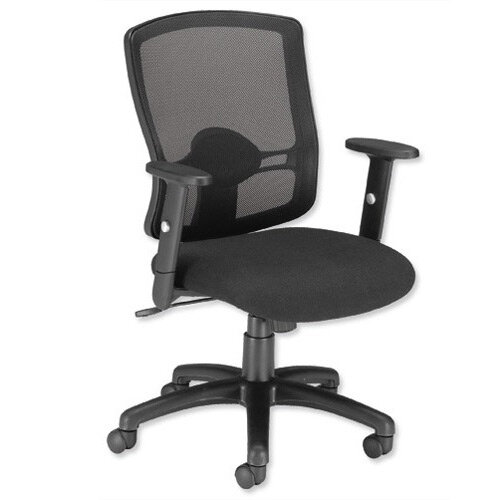 Influx Mesh Task Operator Office Chair Black - Height-Adjustable Arms - perfect for office or home office use - suitable for use 8 hours a day