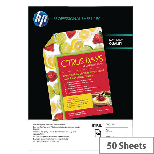 HP A4 White Professional Glossy Inkjet Printer Paper 180gsm (Pack of 50) Ref C6818A