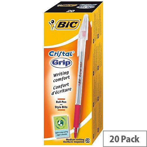 Bic Cristal Grip Ballpoint Pen Red Pack 20
