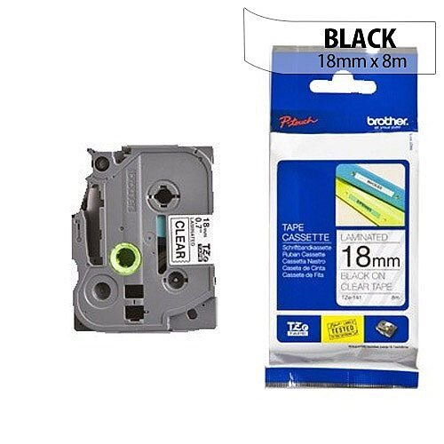 Brother TZ141 P-touch TZ Tape 18mm x 8m Black on Clear
