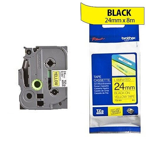 Brother TZ651 P-touch TZ Tape 24mm x 8m Black on Yellow